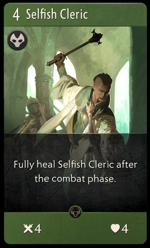 Selfish Cleric Card